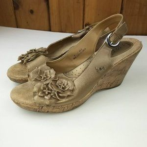 B.O.C Born Shoes Gold Floral Wedge Sandals